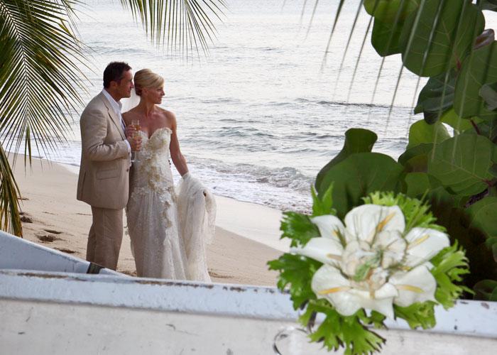Bride Groom On Barbados Beach Wedding
